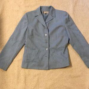 Blue blazer work shoulder pads